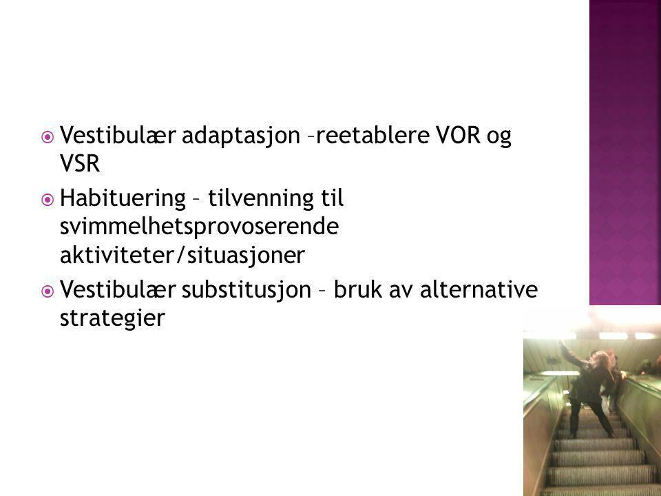 Vestibulær adaptasjon –reetablere VOR og VSR