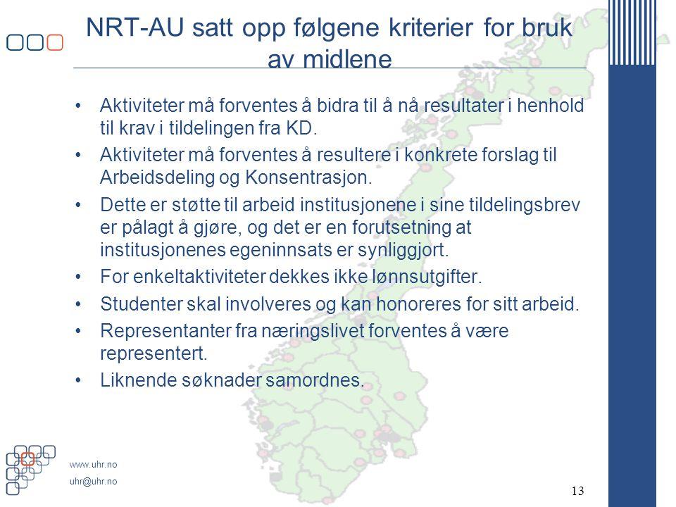 NRT-AU satt opp følgene kriterier for bruk av midlene