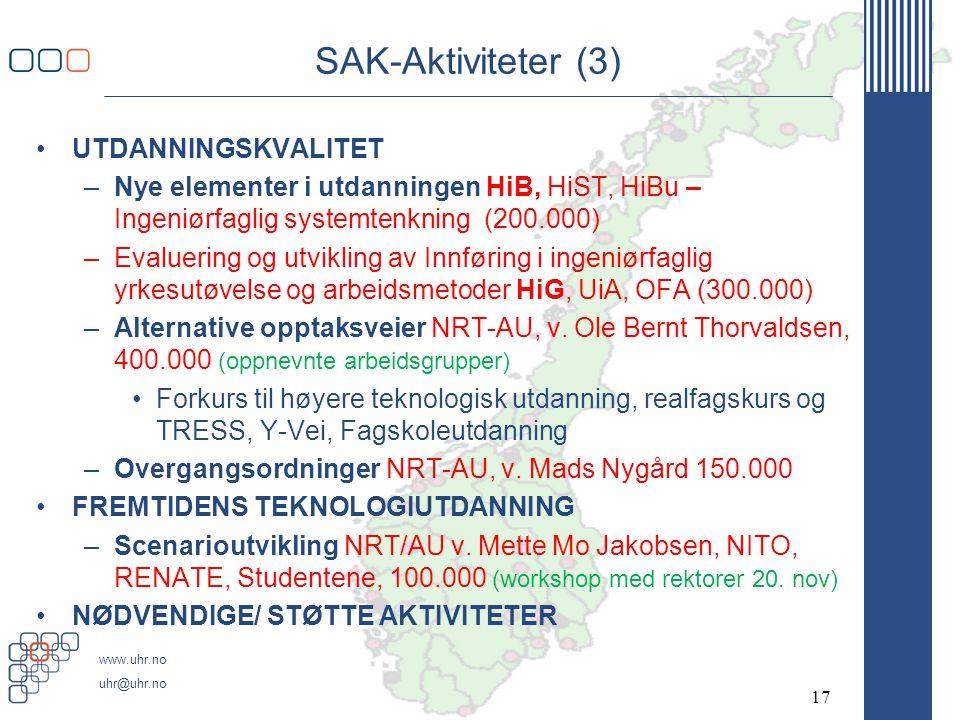 SAK-Aktiviteter (3) UTDANNINGSKVALITET