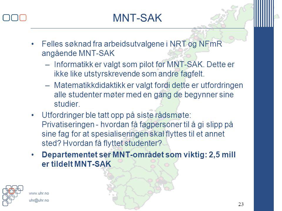 MNT-SAK Felles søknad fra arbeidsutvalgene i NRT og NFmR angående MNT-SAK.
