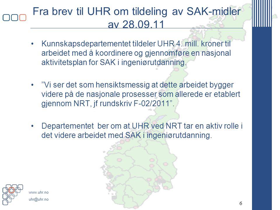 Fra brev til UHR om tildeling av SAK-midler av 28.09.11