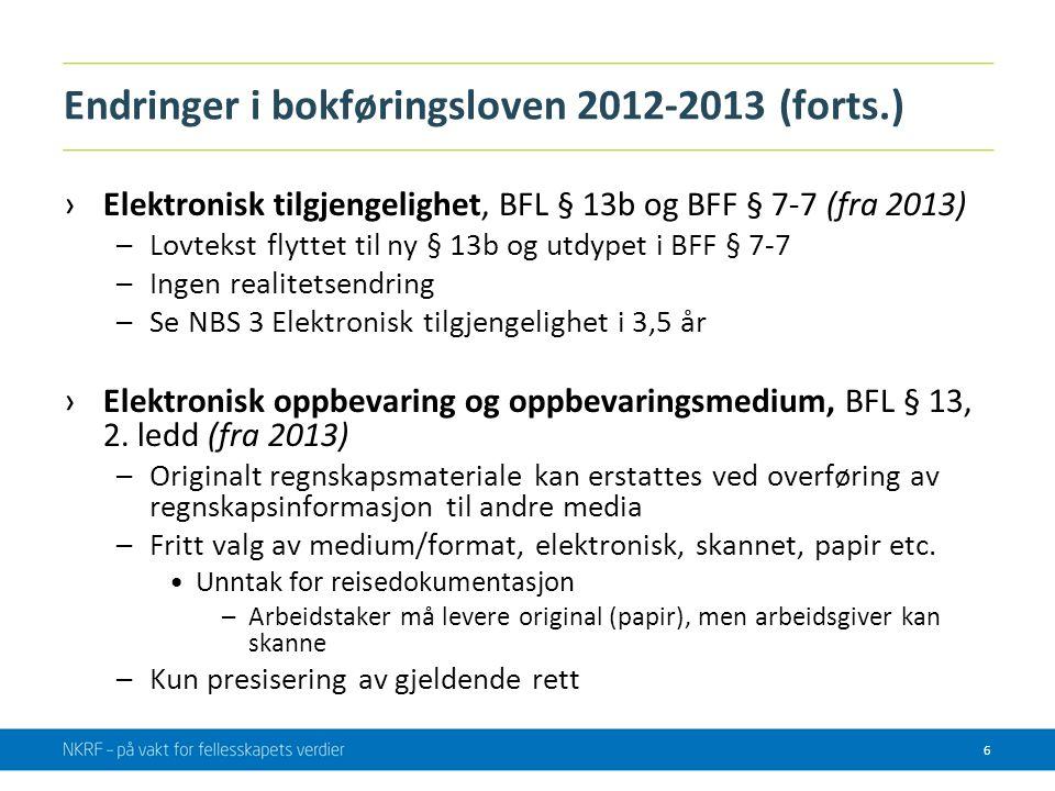 Endringer i bokføringsloven 2012-2013 (forts.)