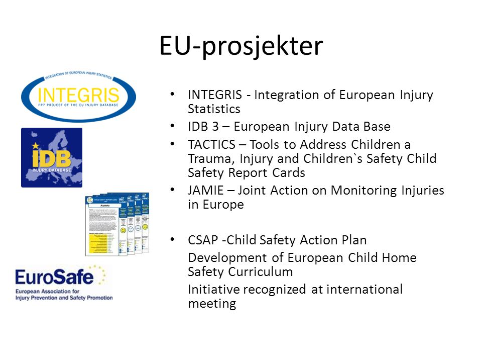EU-prosjekter INTEGRIS - Integration of European Injury Statistics