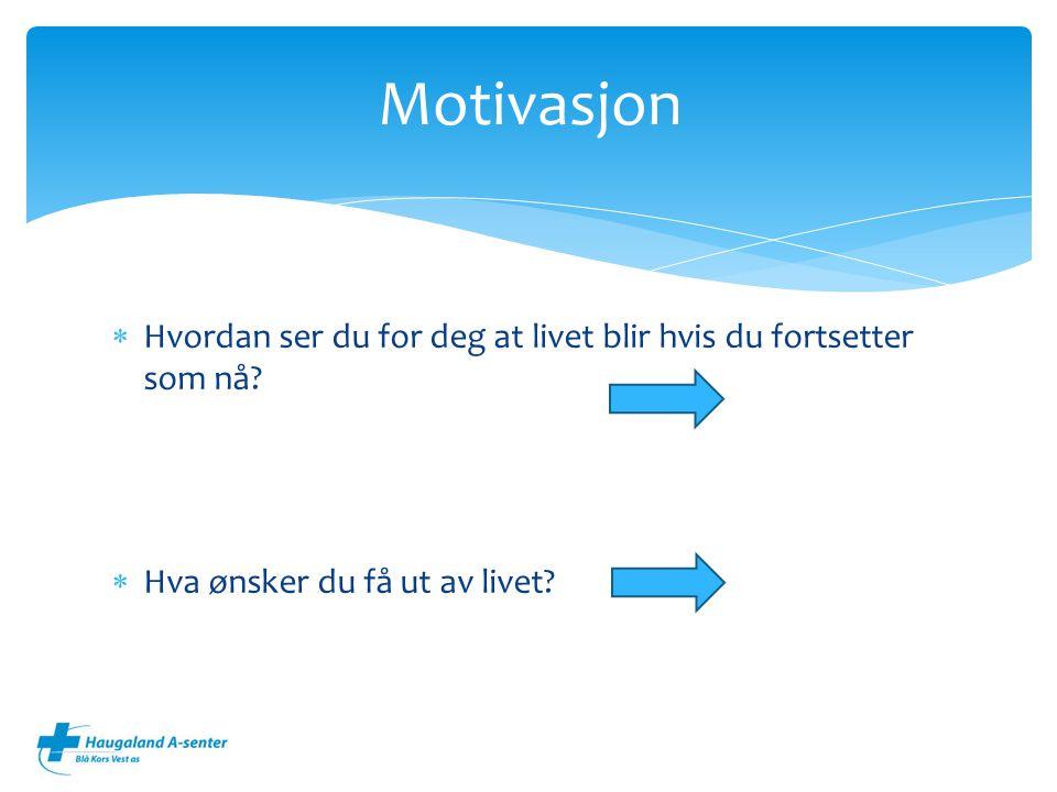 Motivasjon Hvordan ser du for deg at livet blir hvis du fortsetter som nå.