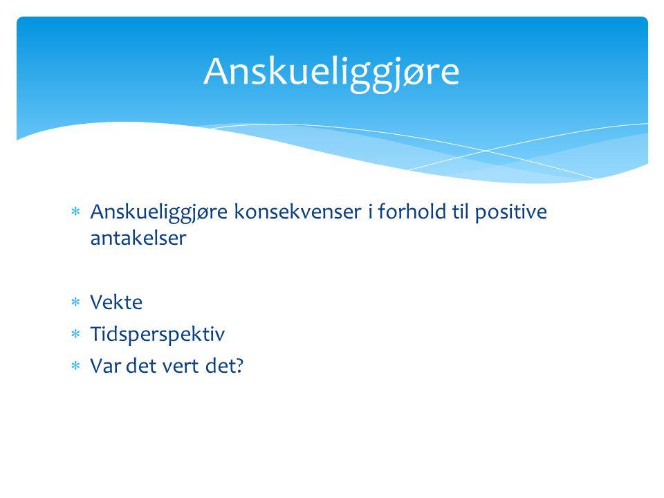 Anskueliggjøre Anskueliggjøre konsekvenser i forhold til positive antakelser. Vekte. Tidsperspektiv.