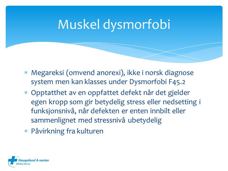 Muskel dysmorfobi Megareksi (omvend anorexi), ikke i norsk diagnose system men kan klasses under Dysmorfobi F45.2.