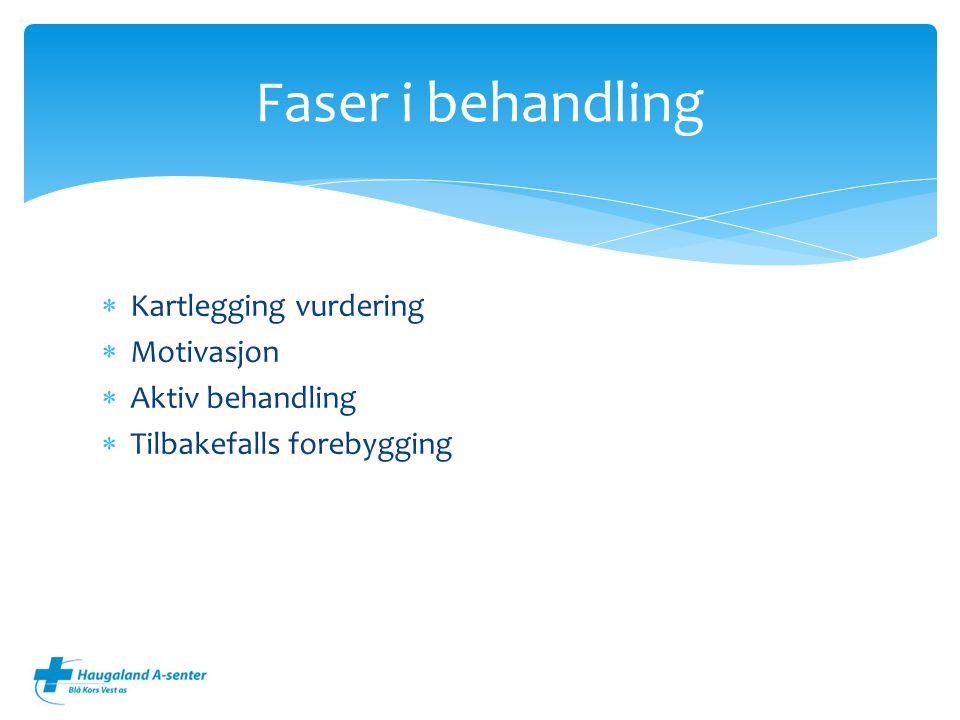 Faser i behandling Kartlegging vurdering Motivasjon Aktiv behandling