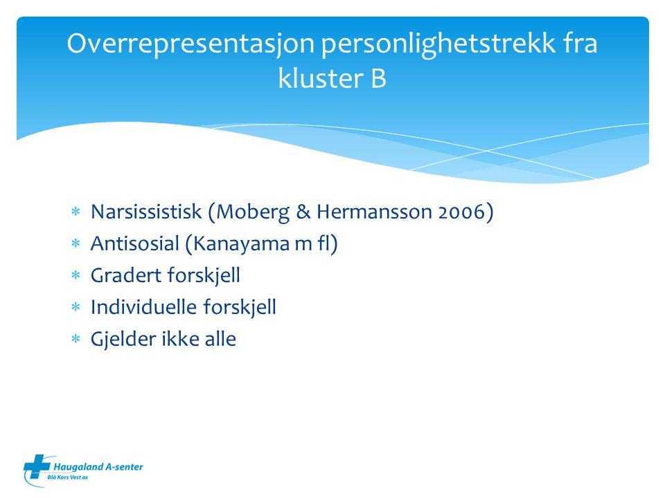Overrepresentasjon personlighetstrekk fra kluster B
