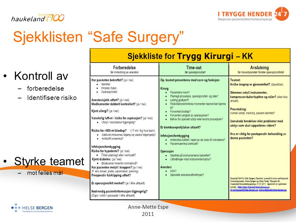 Sjekklisten Safe Surgery