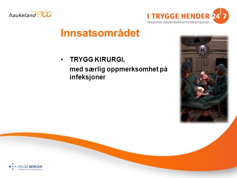 Innsatsområdet TRYGG KIRURGI, med særlig oppmerksomhet på infeksjoner
