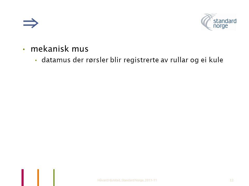 ⇒ mekanisk mus. datamus der rørsler blir registrerte av rullar og ei kule.