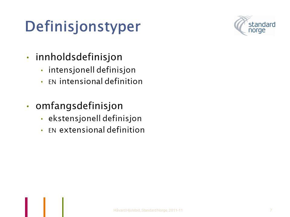 Definisjonstyper innholdsdefinisjon omfangsdefinisjon