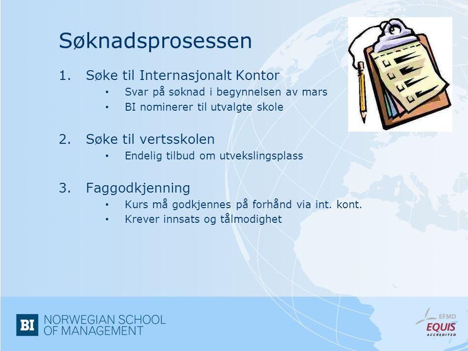 Søknadsprosessen Søke til Internasjonalt Kontor Søke til vertsskolen