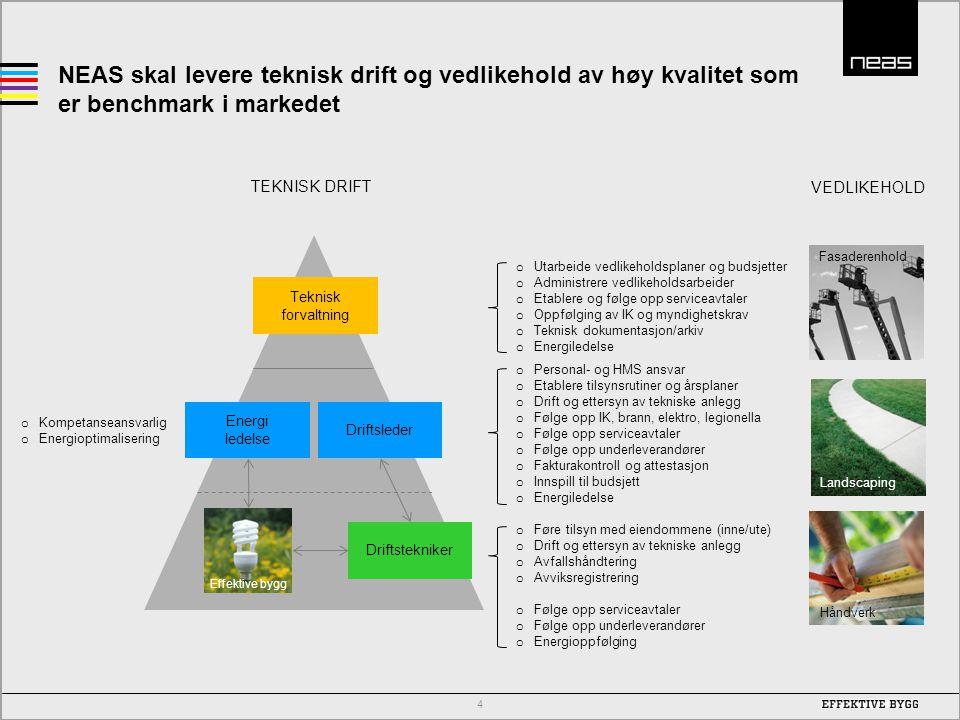 NEAS skal levere teknisk drift og vedlikehold av høy kvalitet som er benchmark i markedet