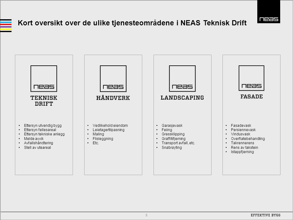 Kort oversikt over de ulike tjenesteområdene i NEAS Teknisk Drift