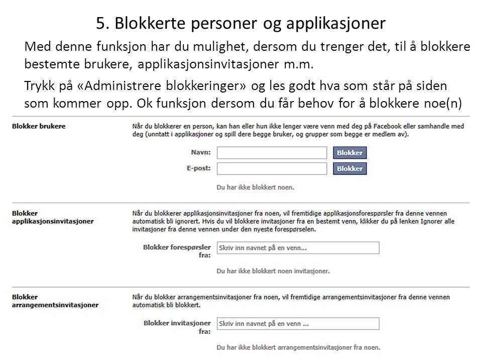 5. Blokkerte personer og applikasjoner
