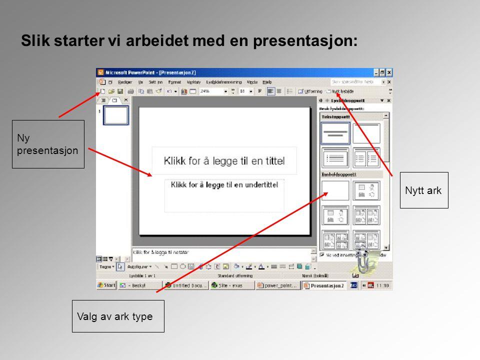 Slik starter vi arbeidet med en presentasjon: