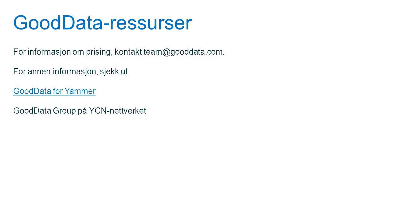 GoodData-ressurser For informasjon om prising, kontakt team@gooddata.com. For annen informasjon, sjekk ut: