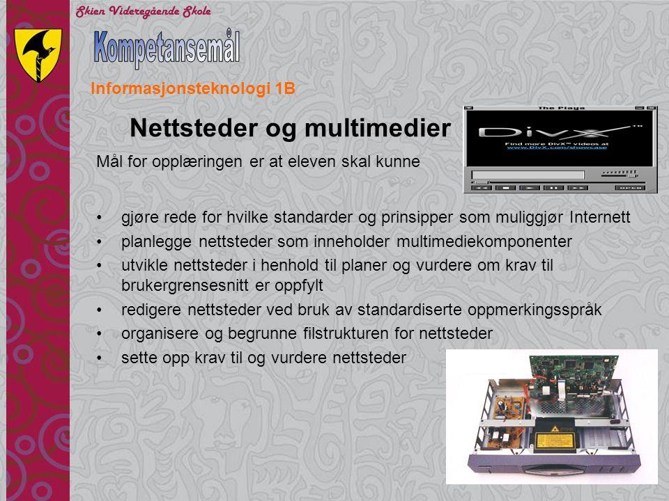 Kompetansemål Nettsteder og multimedier Informasjonsteknologi 1B