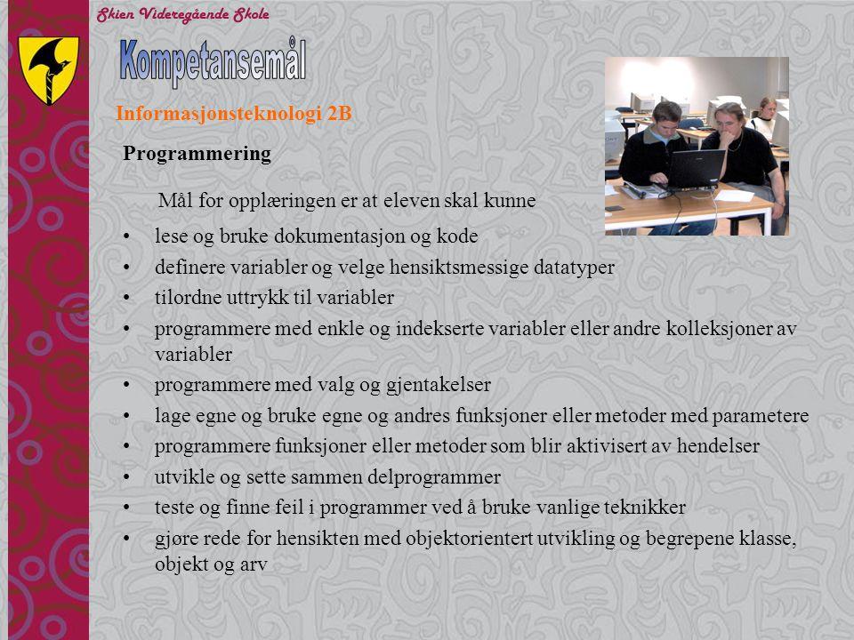 Kompetansemål Informasjonsteknologi 2B Programmering