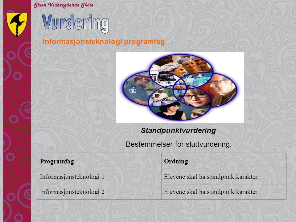 Vurdering Informasjonsteknologi programfag Standpunktvurdering