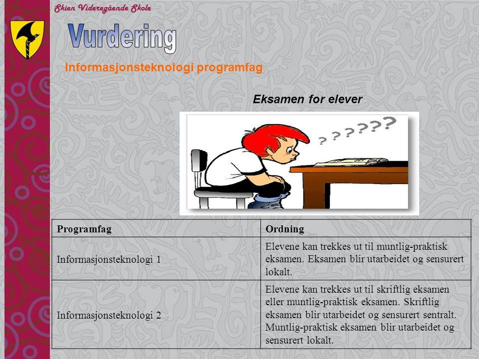 Vurdering Informasjonsteknologi programfag Eksamen for elever