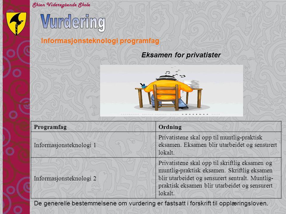 Vurdering Informasjonsteknologi programfag Eksamen for privatister