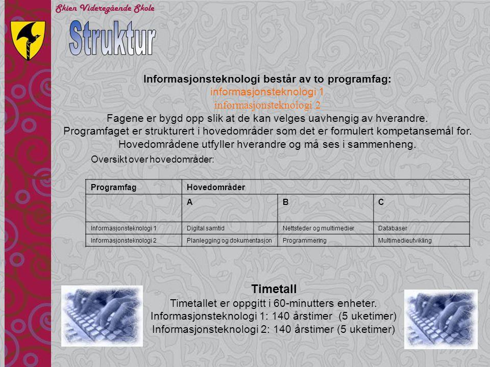Struktur Timetall Informasjonsteknologi består av to programfag: