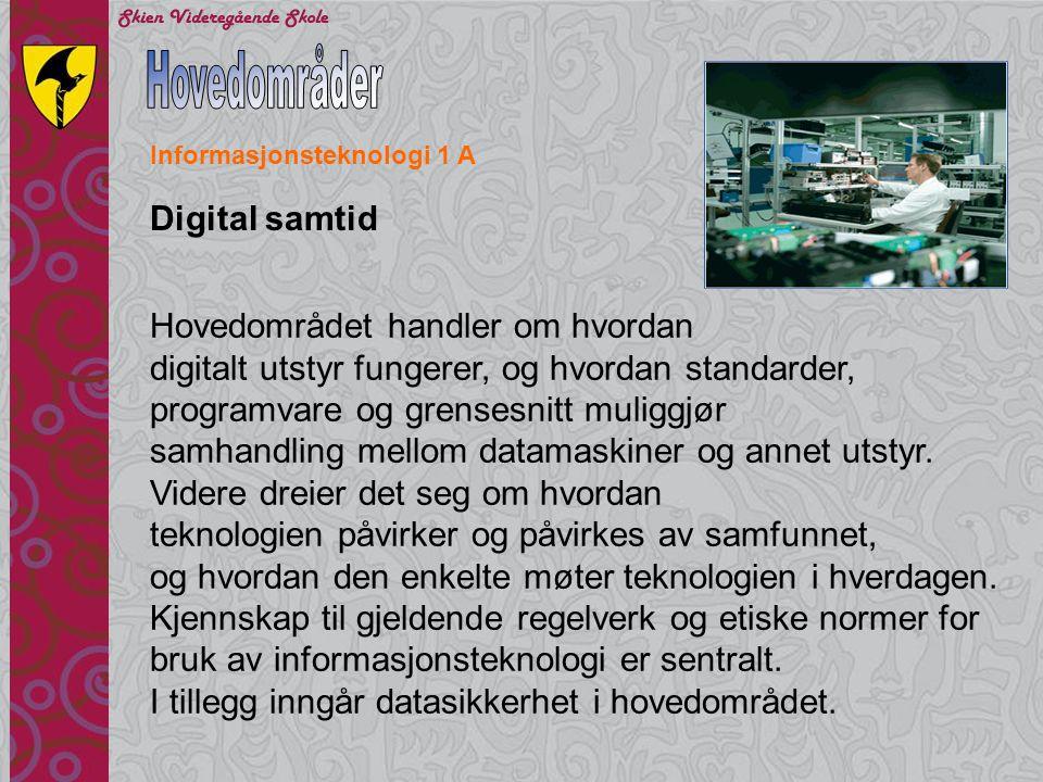 Hovedområder Digital samtid Hovedområdet handler om hvordan