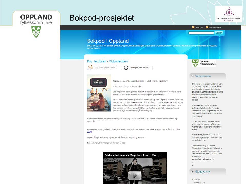 Bokpod-prosjektet Et prosjekt som startet med 5 bibliotek i Gjøvik-regionen, men som nå fylkesbiblioteket har tatt over ansvaret for.