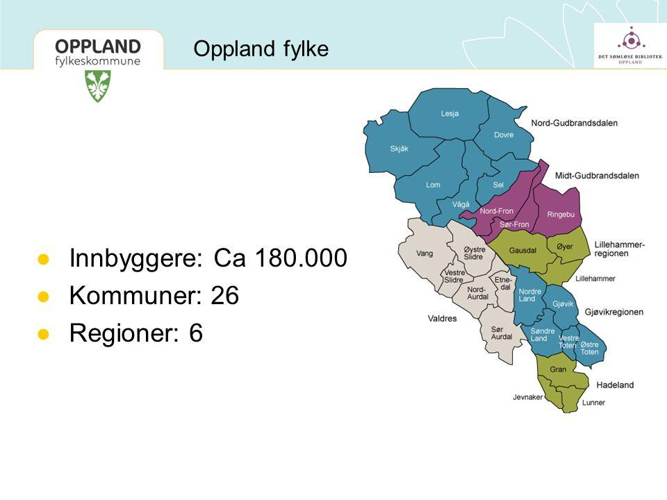 Innbyggere: Ca 180.000 Kommuner: 26 Regioner: 6 Oppland fylke