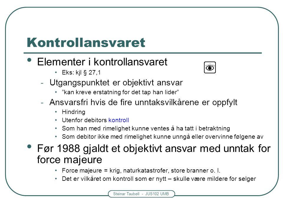 Kontrollansvaret Elementer i kontrollansvaret