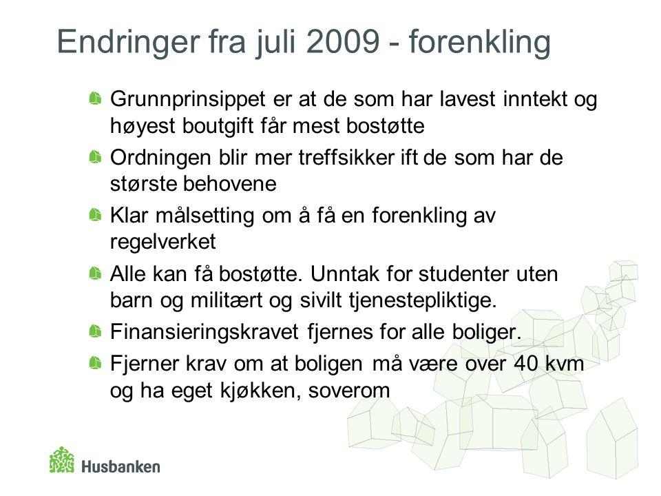Endringer fra juli 2009 - forenkling