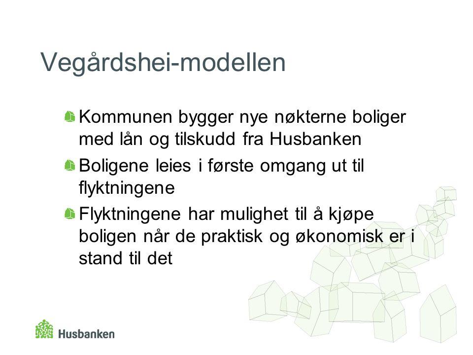 Vegårdshei-modellen Kommunen bygger nye nøkterne boliger med lån og tilskudd fra Husbanken. Boligene leies i første omgang ut til flyktningene.