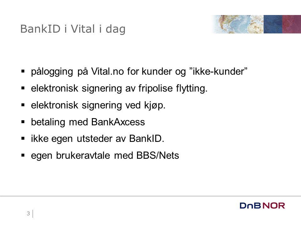 BankID i Vital i dag pålogging på Vital.no for kunder og ikke-kunder