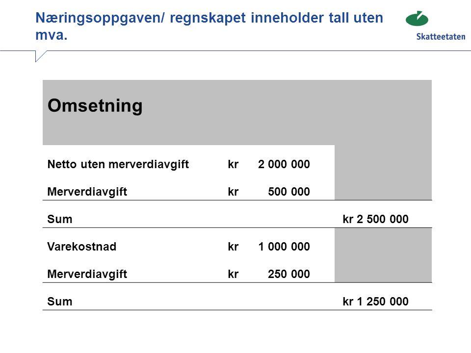 Næringsoppgaven/ regnskapet inneholder tall uten mva.