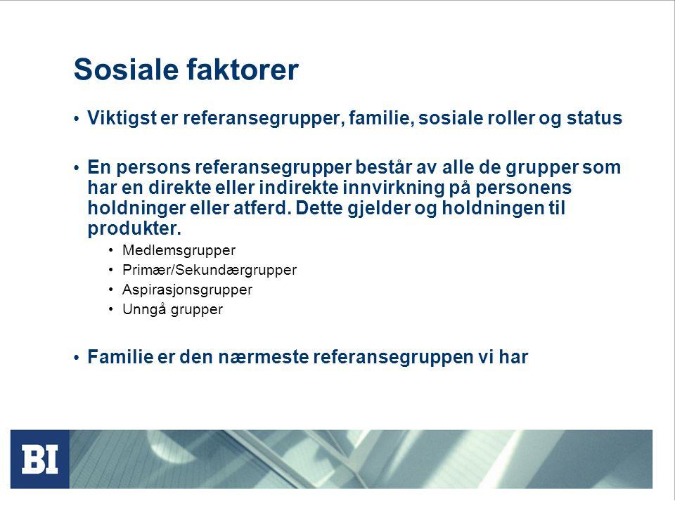 Sosiale faktorer Viktigst er referansegrupper, familie, sosiale roller og status.