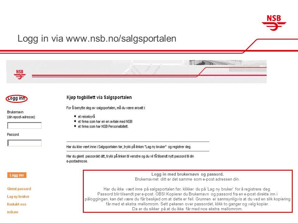 Logg in via www.nsb.no/salgsportalen