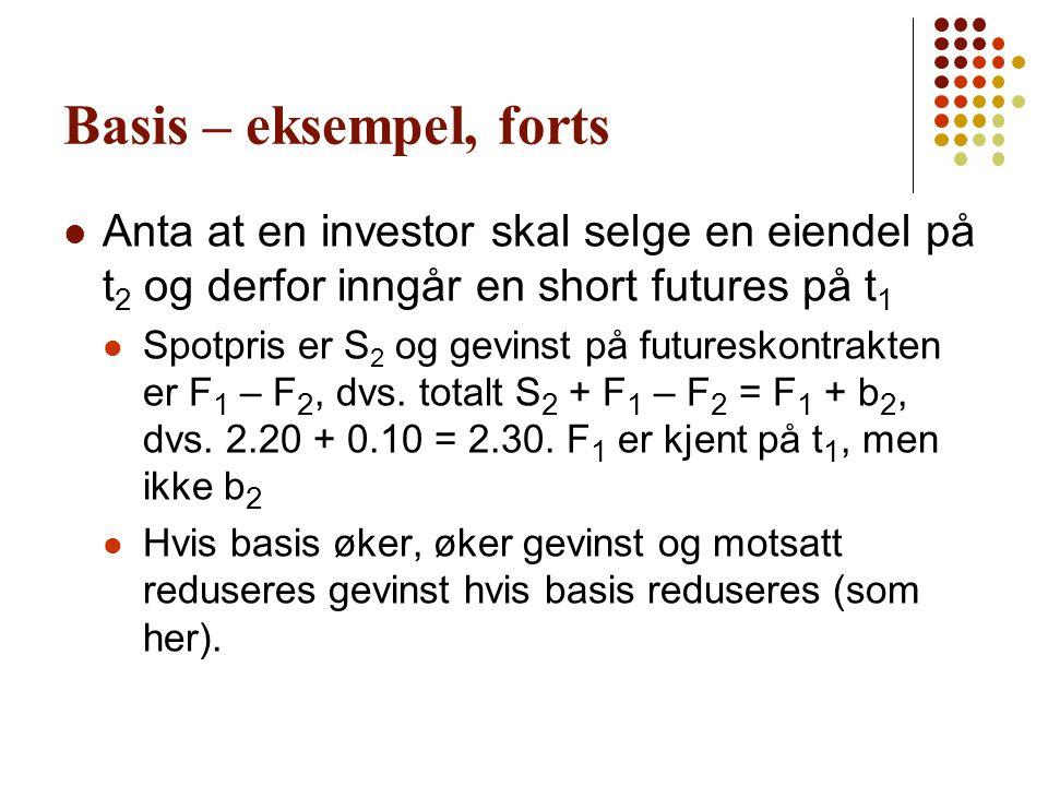Basis – eksempel, forts Anta at en investor skal selge en eiendel på t2 og derfor inngår en short futures på t1.