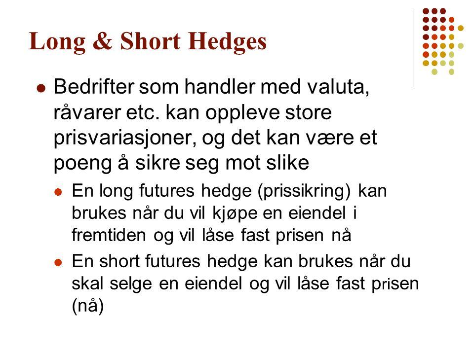 Long & Short Hedges Bedrifter som handler med valuta, råvarer etc. kan oppleve store prisvariasjoner, og det kan være et poeng å sikre seg mot slike.