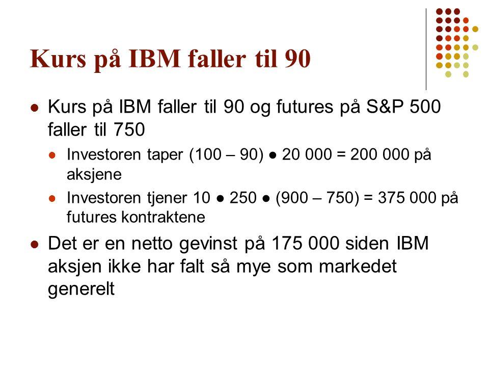 Kurs på IBM faller til 90 Kurs på IBM faller til 90 og futures på S&P 500 faller til 750. Investoren taper (100 – 90) ● 20 000 = 200 000 på aksjene.