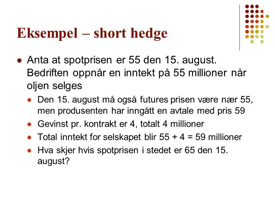 Eksempel – short hedge Anta at spotprisen er 55 den 15. august. Bedriften oppnår en inntekt på 55 millioner når oljen selges.