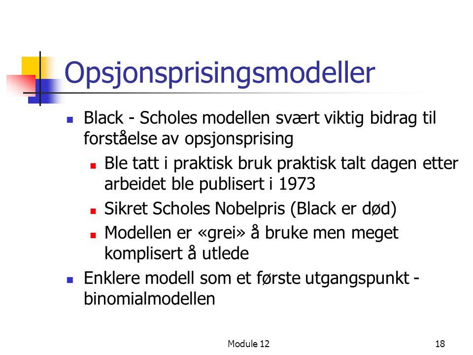 Opsjonsprisingsmodeller