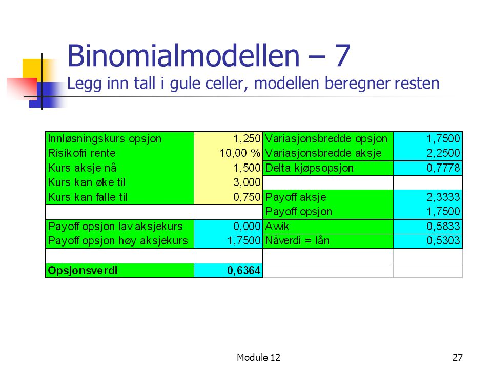 Binomialmodellen – 7 Legg inn tall i gule celler, modellen beregner resten