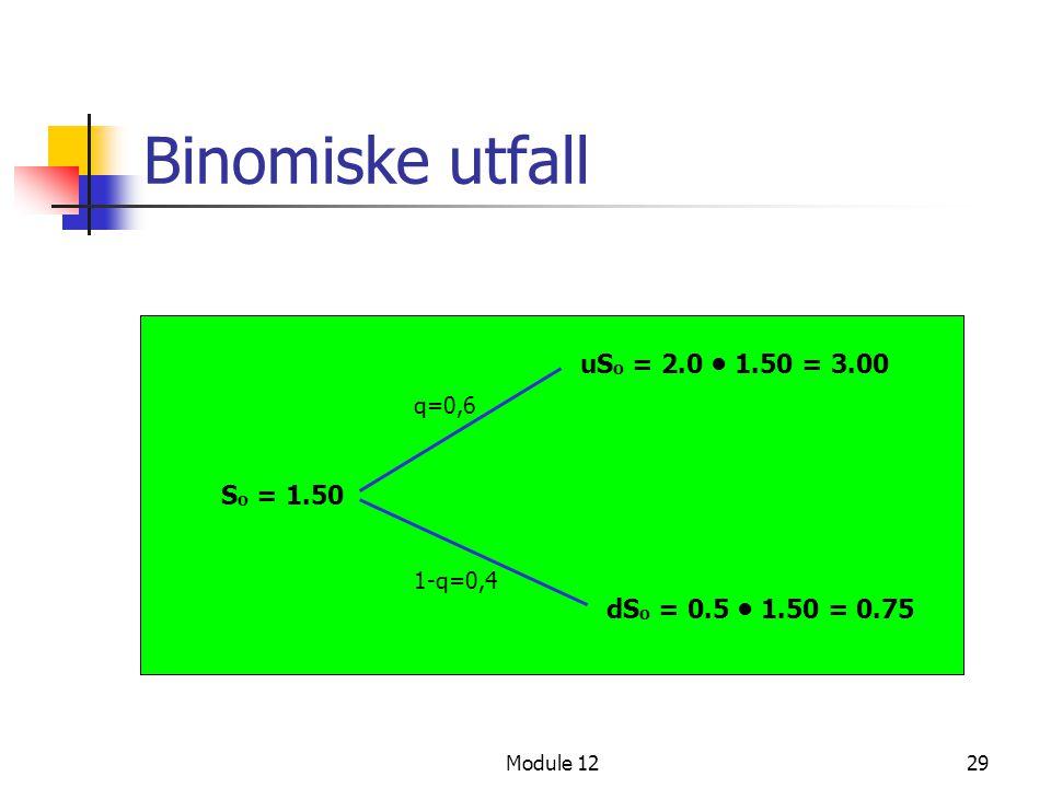 Binomiske utfall uSo = 2.0 • 1.50 = 3.00 So = 1.50