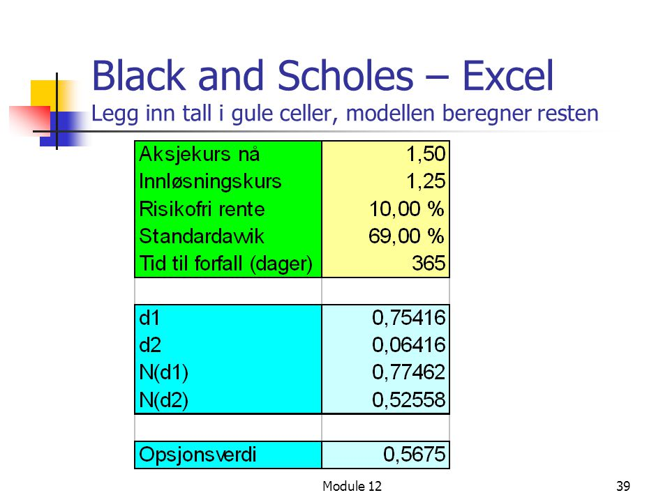 Black and Scholes – Excel Legg inn tall i gule celler, modellen beregner resten