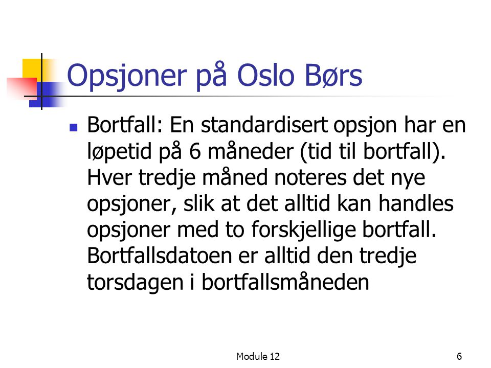 Opsjoner på Oslo Børs