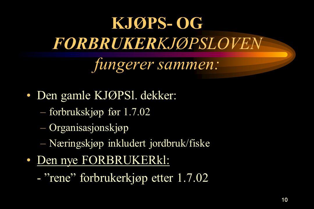 KJØPS- OG FORBRUKERKJØPSLOVEN fungerer sammen: