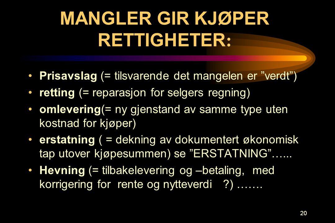 MANGLER GIR KJØPER RETTIGHETER: