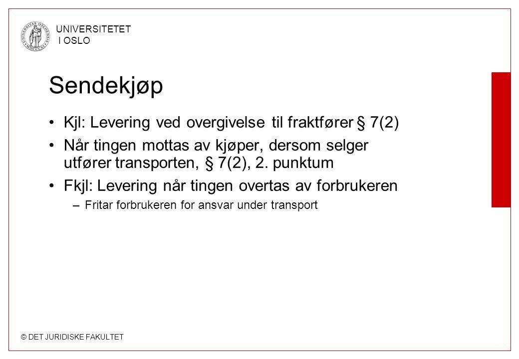 Sendekjøp Kjl: Levering ved overgivelse til fraktfører § 7(2)